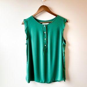 LOFT Green Sleeveless Blouse Size L